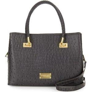 "Bebe • Ostrich ""Jackie"" satchel purse bag• leather"